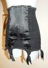 corset convient à T42/44 noir vintage jarretelles ancien ww2 satin 2xl 873!
