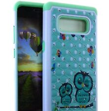 For Samsung Galaxy Note 8 - Hybrid Diamond Bling Armor Case Cover Mint Green Owl