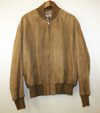 Orvis Vintage Suede Leather Jacket Stand Up Collar Honey Wheat Brown 46R Large