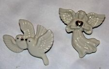 Pair of Lenox Pins   doves  angel with heart  gold trim