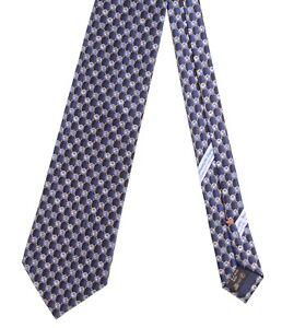 Ermenegildo Zegna Satin Navy Blue Floral Geometric Print Glossy Silk Tie