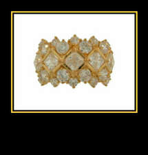 Cubic Zirconia Fashion Ring 14K Solid Yellow Gold White