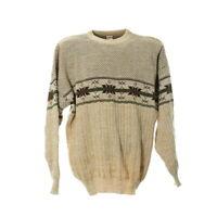 Vintage Strickpullover Gr. L Herren Sweater Rundhals Norweger Muster