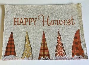 """Happy Harvest Gnomes Placemats 13x18"""" Set of 4 Tapestry Thanksgiving Fall Colors"""