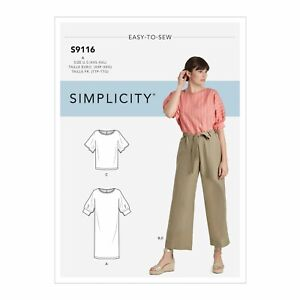 Simplicity Easy SEWING PATTERN S9116 Misses' Dress,Tops & Trousers XXS-XXL