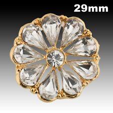 Vintage Gold Metal Hollow Flower Shape Button w/ Large Rhinestones 29mm 40022015