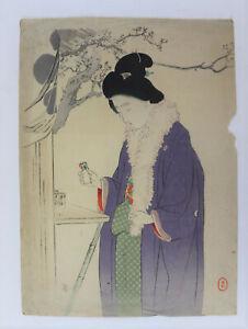 Beauty,New year event ,kuchi-e Original woodblock print Toshikata