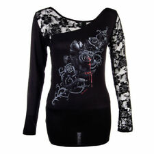 Gothess Spiral Shirt Hemd Bluse Damen Langarmshirt Gothic