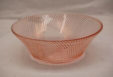 "Old Vintage Diana Pink Depression by Federal Glass 9"" Salad Serving Bowl Swirled"