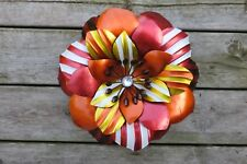FLOWER WALL ART METAL DECOR MODERN RETRO HOME DECOR  NEW ORANGE