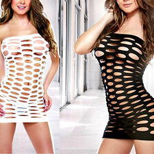GN- Women Sexy Strapless Hollow Out Bodycon Nightwear Erotic Mini Mesh Dress Sup