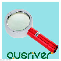 Aluminium Alloy Hand Held 20x Magnifying Glass Lens Magnifier Loupe 10LED Lights