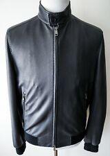 $5775 BRIONI Black Deerskin Leather Bomber Jacket Coat Size 56 EU 46 US XL - 2XL