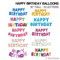 """Self Inflating Happy Birthday Balloons Banner Bunting Party Decoration 16"""" Inch"""
