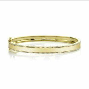 Diamante Bracciale Rigido Chiusura Serratura 14K Oro Giallo Natural 0.47ct Stile