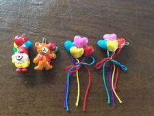 4 Vintage Children's Hair Barrettes~Clown Bear & Heart Balloons~Unique