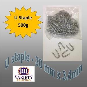 6x 500g packs (3kg)  Galvanised Netting Fencing Staples U Nail 30 mm x 3.4mm,