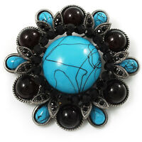 Vintage Turquoise Stone Floral Corsage Brooch (Antique Silver Tone)
