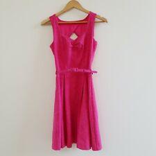 Review Women's Dress Sweetheart Neckline Pink Fuchsia Brocade Belted Size 6