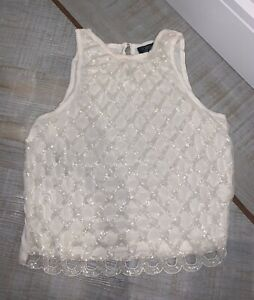 Topshop Womens White Embellished Beaded Top Size 6