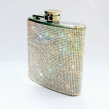 Crystal Bling Rhinestone 8oz Wedding Bridesmaids Gift Stainless Steel Hip Flask