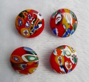 Lot de 4 boutons fantaisie rouges—Pâte de verre—Années 80