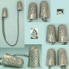 Antique Dance of the Graces Thimbles Silver Knitting Needle Guards * C1913-1917