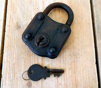 Vintage Antique Metal Padlock  Lock & Key - Working