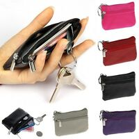 Leather Bag Key Chain Change Zipper Pocket Coin Purse Holder