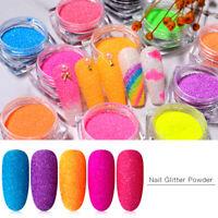 12Boxes UV Gel Nail Polish Neon Pigment Fluorescence Effect Nail Glitter Powder