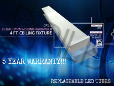 Flush Mount Hardwired Wraparound 4 ft Fixture 2x LED T8 Natural 4500k 48w Watt