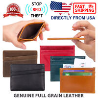 RFID Block Genuine Top Grain Leather Front Pocket Wallet Slim Credit Card Holder