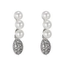 3 Pearl Design Earrings Drop Down Dangle Cubic Zirconia White Gold Finish Women