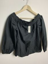 J. Crew G2654 Long Sleeve Off The Shoulder Top In Black Size 4.    I
