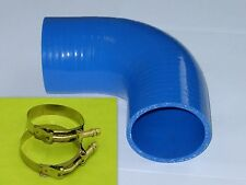 Burstflow Silikon Schlauch Bogen 90 Grad 76mm blau und 2 Schellen silicone hose