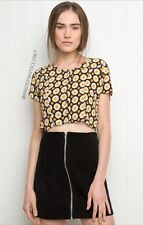 Brandy Melville Retro 60s Yellow Black Daisy Floral Button Up Crop Top Scoop Nwt