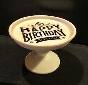 HAPPY BIRTHDAY Rosanna Decor Mini Cake Pedestal Plate Beaded White Ceramic