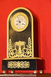 Antique French Empire gilt ormolu ebony 8 day clock 1820 original working well