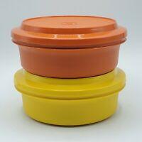 2 VTG Tupperware Seal-N-Serve Bowls W/Lids Orange & Yellow #1253 #1207 Harvest