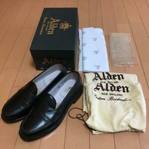 ALDEN Auth 981 Calf leather Penny Loafers Shoes Black US 7C/E New from Japan