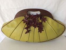 ANTHONY LUCIANO Green Leather Wood Handle Purse Handbag Rare