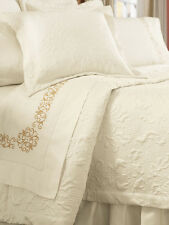 Sferra HARRISON FULL / QUEEN Quilted Coverlet & 2 Shams  CHOCOLATE - NEW!