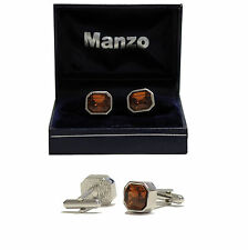New Men's Cufflinks Cuff Link Rhinestones Formal Wedding prom Medium Brown #21