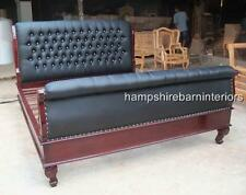 Ornate 6 FT Luxe French Bed Mahogany Black Faux Leather Crystal Super King