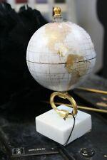 Globus Weltkugel 20cm Holz auf Fuß Marmor  Weiß Gold Dekoration Deko Objekt