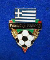 Beautiful Large Greece Greek Flag World Cup Soccer Ball Cloisonne Lapel Pin