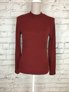 PRINCIPLES Womens Red Ribbed Polo Neck Long Sleeve Casual Thin Jumper UK 12 US 8