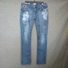 Express ReRock Skinny Low Rise Womens Jeans Sz 12 L32.5 Distressed