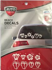 Auto Drive Beach Decals Stickers for Car Auto - Sea Turtle, Sandal, Flipflop
