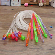 12 Sizes Flexible Plastic Afghan Tunisian Crochet Hooks Weave Knit Needles Set
